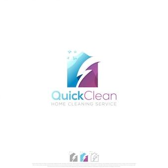 Vetor de design de logotipo de limpeza rápida