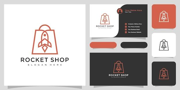 Vetor de design de logotipo de loja de foguetes e cartão de visita