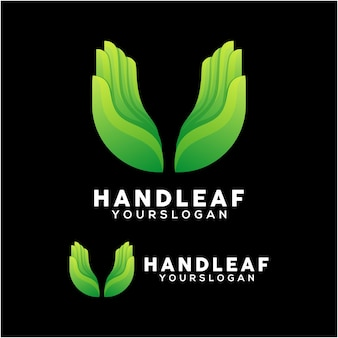 Vetor de design de logotipo de mão colorida