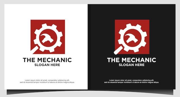 Vetor de design de logotipo de martelo de ferramentas de engrenagens