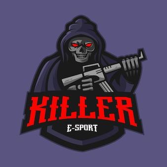 Vetor de design de logotipo de mascote assassino. ilustração do ceifador para equipe de e-sport