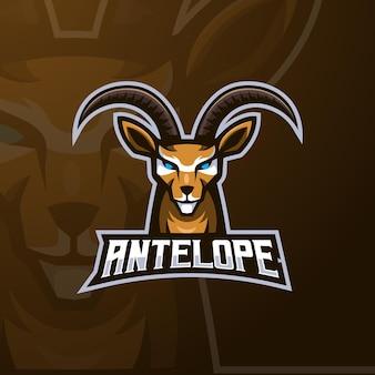 Vetor de design de logotipo de mascote de antílope com estilo de conceito de ilustração moderna para esportes, equipe, clube e jogos