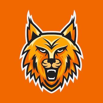 Vetor de design de logotipo de mascote de cabeça de lince