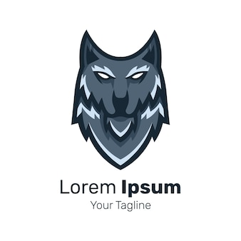 Vetor de design de logotipo de mascote de cabeça de lobo