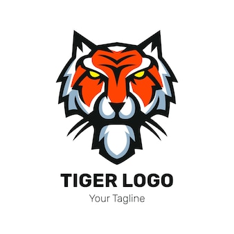 Vetor de design de logotipo de mascote de cabeça de tigre