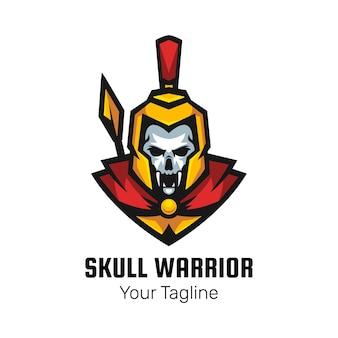 Vetor de design de logotipo de mascote de crânio espartano