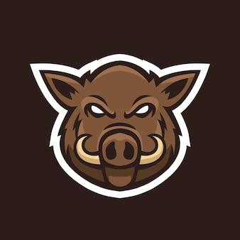 Vetor de design de logotipo de mascote de javali