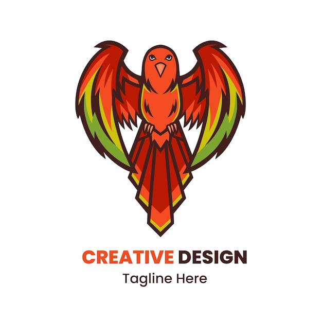 Vetor de design de logotipo de mascote de pássaro