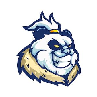 Vetor de design de logotipo de mascote panda com estilo de conceito de ilustração moderna para emblema