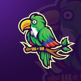 Vetor de design de logotipo de mascote papagaio com ilustração moderna