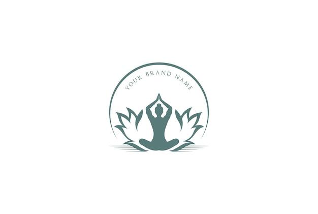 Vetor de design de logotipo de meditação vintage retrô lótus ioga