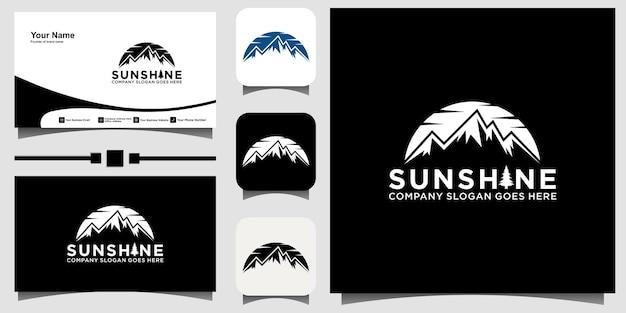 Vetor de design de logotipo de montanha com fundo de modelo de cartão de visita