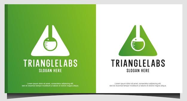 Vetor de design de logotipo de natureza de laboratórios de triângulo