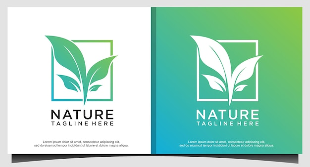 Vetor de design de logotipo de natureza folha de árvore