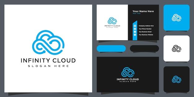 Vetor de design de logotipo de nuvem infinita e cartão de visita
