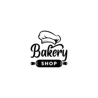Vetor de design de logotipo de padaria com chapéu de chef e rolo de massa