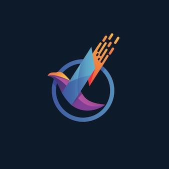 Vetor de design de logotipo de pássaro colorido