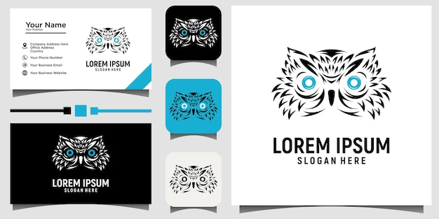 Vetor de design de logotipo de pássaro coruja com promoção de fundo de cartão de visita modelo