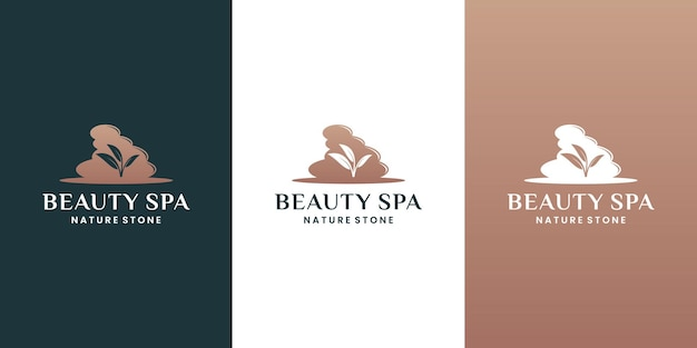 Vetor de design de logotipo de pedras de spa com folha de lótus