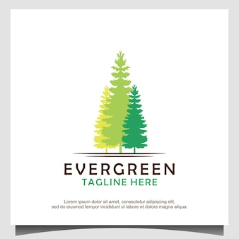Vetor de design de logotipo de pinheiros, abetos e árvores de cedro