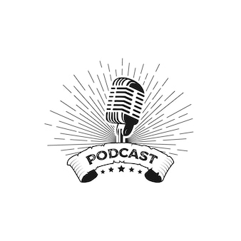 Vetor de design de logotipo de podcast de microfone vintage