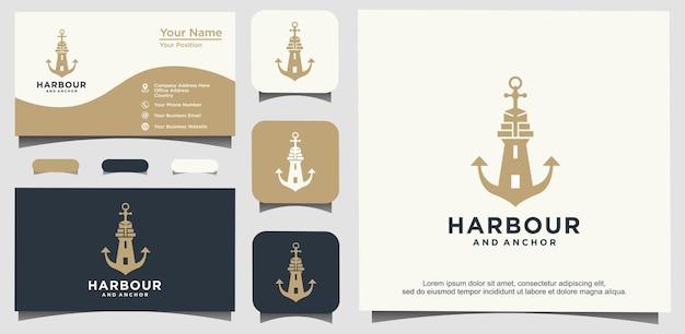 Vetor de design de logotipo de porto e âncora