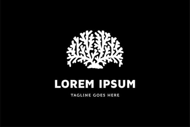 Vetor de design de logotipo de recife de coral ou neurônio cerebral