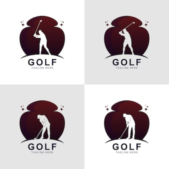 Vetor de design de logotipo de silhueta de golfe gradiente