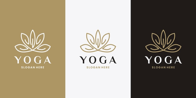 Vetor de design de logotipo de símbolo de ioga de flor de lótus. feminino dourado
