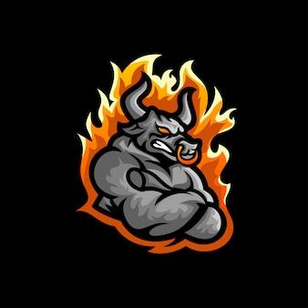 Vetor de design de logotipo de touro