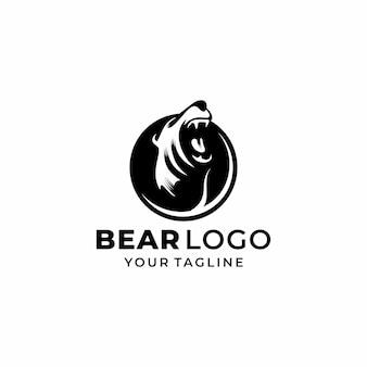Vetor de design de logotipo de urso de cabeça