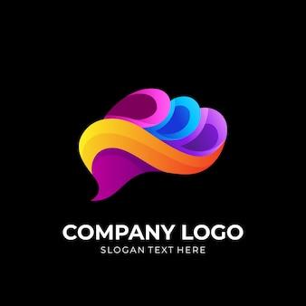 Vetor de design de logotipo do cérebro, estilo colorido 3d
