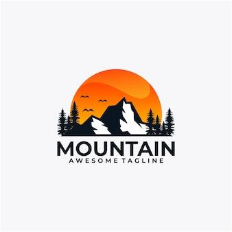 Vetor de design de logotipo do pôr do sol da montanha