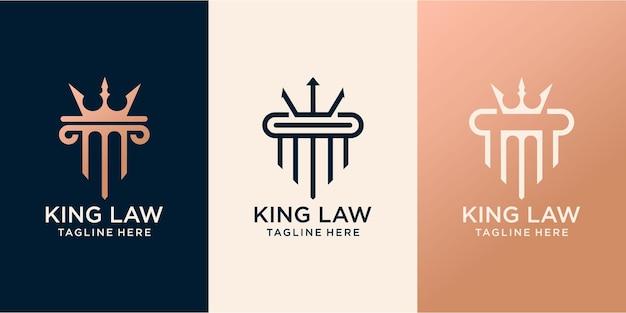 Vetor de design de logotipo do rei da lei da justiça