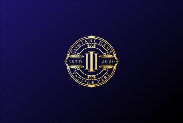 Vetor de design de logotipo elegante de luxo dourado retrô vintage pilar