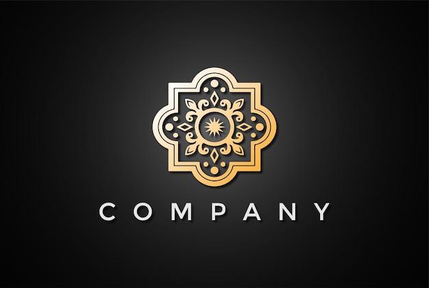 Vetor de design de logotipo elegante e luxuoso com padrão de flor dourada