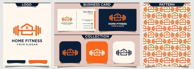Vetor de design de logotipo em casa fitness barbell.