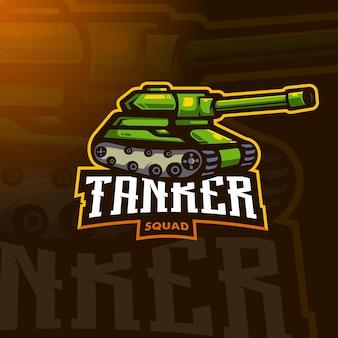 Vetor de design de logotipo esportivo tanque