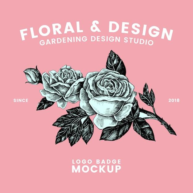 Vetor de design de logotipo floral e jardinagem