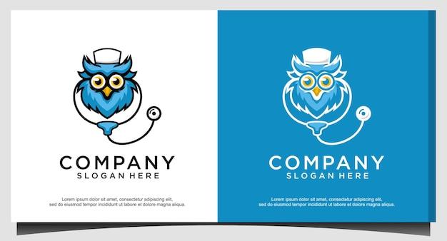 Vetor de design de logotipo médico coruja
