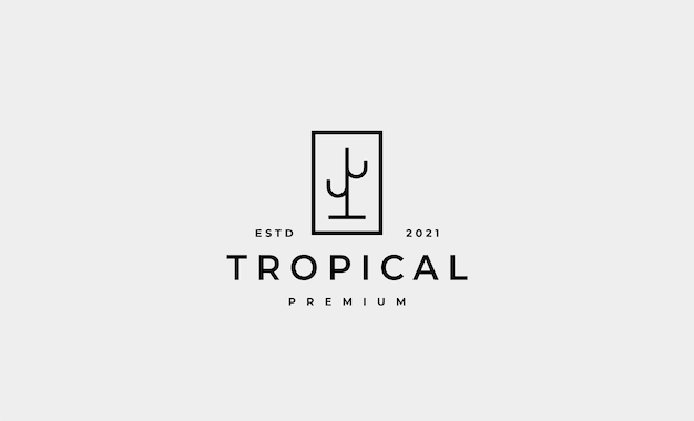 Vetor de design de logotipo mínimo cactus