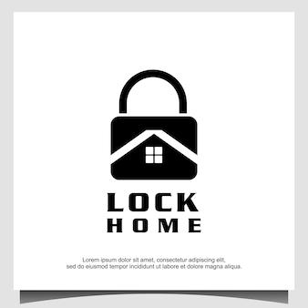 Vetor de design de logotipo para casa cadeado