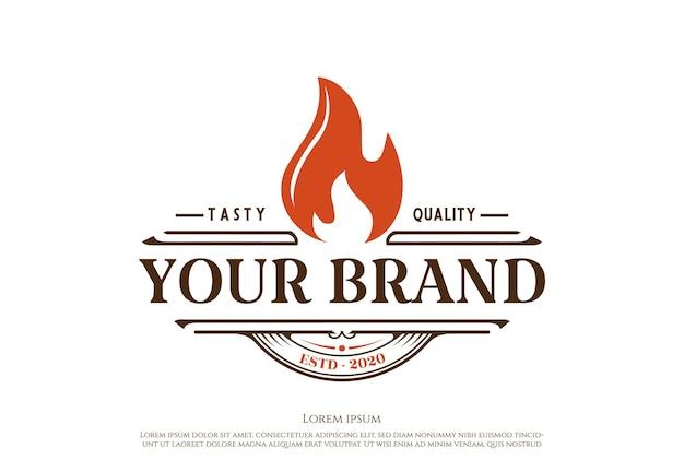 Vetor de design de logotipo rústico retrô vintage para churrasco churrasqueira