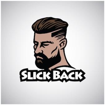 Vetor de design de logotipo vintage de barbearia de corte liso