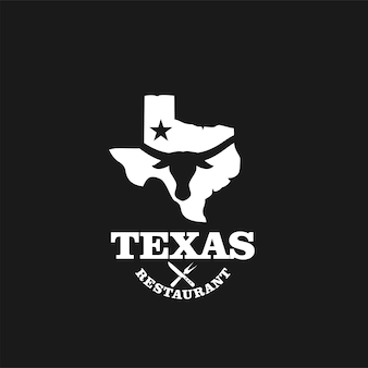 Vetor de design de logotipo vintage premium de restaurante texas