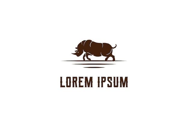 Vetor de design de logotipo vintage retrô irritado forte rinoceronte