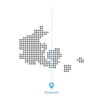 Vetor de design de mapa pontilhada de dinamarca