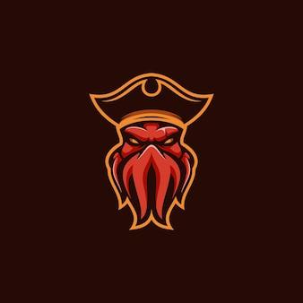 Vetor de design de mascote octo pirates