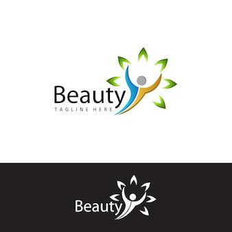 Vetor de design de modelo de logotipo de beleza pessoas de saúde