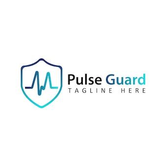 Vetor de design de modelo de logotipo de guarda de pulso azul com fundo isolado